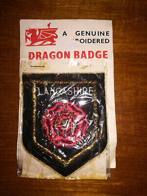 Dragon  Badges   Lancashire  Red Rose  Embroidered Patch Badges • 2.50£