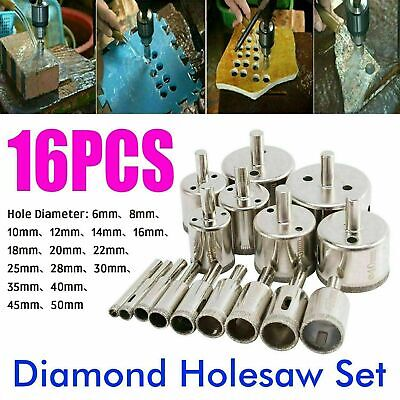 16Pcs Diamond Holesaw Tools Holes Saw Drill Bit Cutter Tile Glass Marble Ceramic • 8.99£