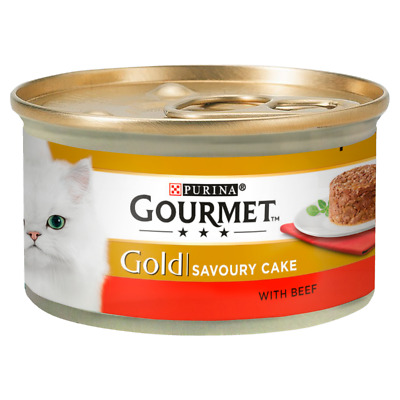 Gourmet Gold Savoury Cake With Beef Wet Cat Food Tins - 12 X 85g • 7.95£