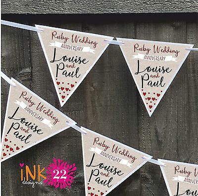 Personalised Ruby 40th Wedding Anniversary Party Decoration Banner Bunting • 4.97£