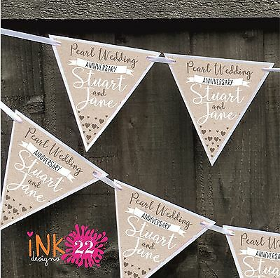 Personalised Pearl 30th Wedding Anniversary Party Decoration Banner Bunting • 4.97£
