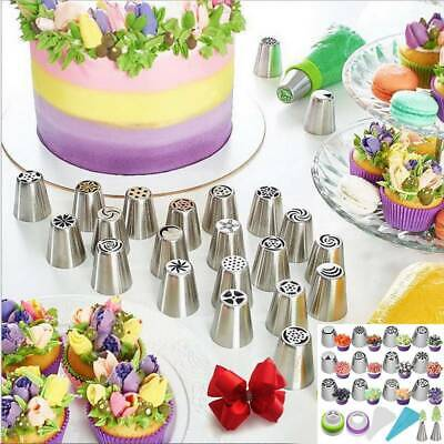 UK 27Pcs Set Russian Leaf Flower Icing Piping Nozzle Tip Cake Topper Baking Tool • 8.78£