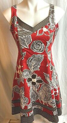 $ CDN18.20 • Buy Nine West Dress Size 8 Sleeveless Fit N Flare V Neck Brown/Sienna Orange