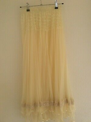 Cream Net & Lace Pleated Skirt With Cotton Crochet & Ribbon Trim • 15£