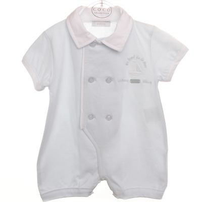 £18 • Buy Coco Collection Designer Baby Boys Blue Romper Age 6-9 Month RRP £34