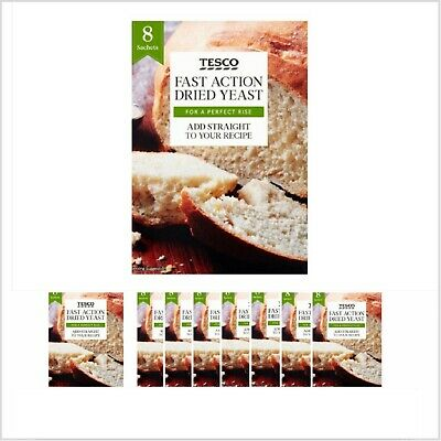 56g Fast Action Dried Yeast Tesco  8X7g Sachets For Bread Machine & Hand Baking • 3.20£