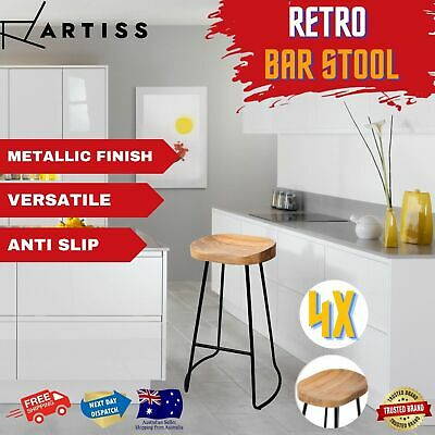 AU257.92 • Buy 4x Kitchen Vintage Tractor Bar Stools Retro BarStool Industrial Wood Chairs 75cm
