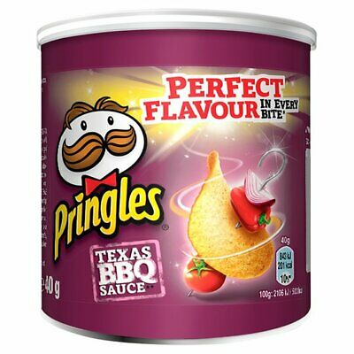 PRINGLES TEXAS BBQ SAUCE FLAVOUR CRISPS 40g PACK OF 12 • 13.99£