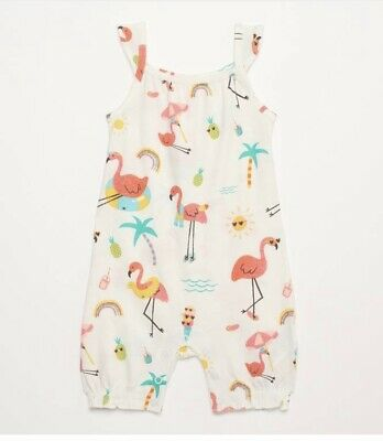 Baby Girl Flamingo Print Romper - Blue Zoo Debenhams - 3-6 Months - New With Tag • 5£