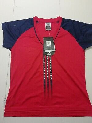 Adidas Fifa World Cup Germany 2006 Flag US Red Tee Shirt Woman Size 42 • 5£
