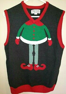 $7.96 • Buy Mens UGLY CHRISTMAS SWEATER VEST KNIT Elf Legs Size Large CUTE @@
