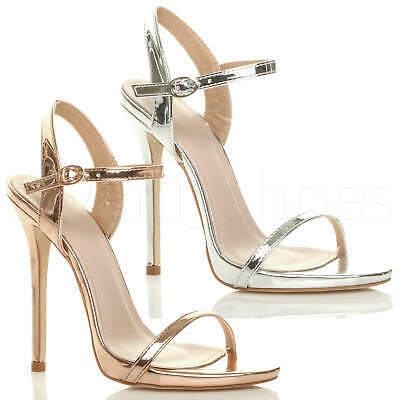 £9.99 • Buy Womens Ladies Very High Heel Buckle Strappy Metallic Barely There Sandals Size