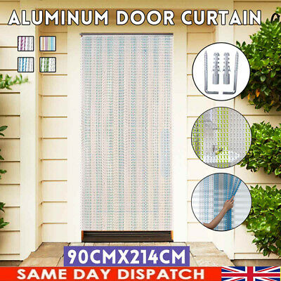 Aluminum Door Curtain Metal Chain Screen Fly Insect Mosquito Blinds 214*90cm UK! • 30.98£