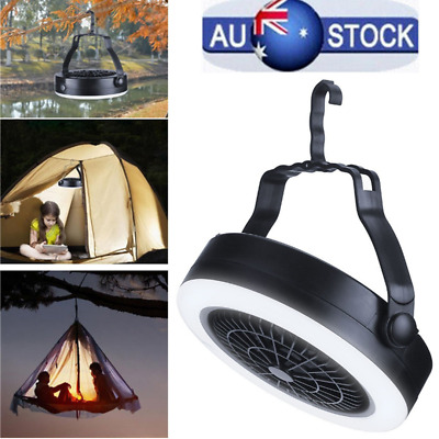 AU24.05 • Buy Rechargeable LED Fan 3 In 1 Portable Tent Lamp Outdoor USB Camping With Hook