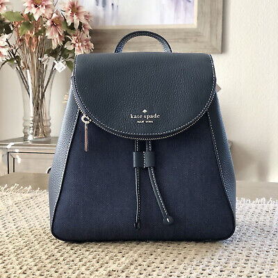 $ CDN172.92 • Buy Kate Spade Leila Denim Medium Flap Backpack Tote Bag Denim /navy Leather $359