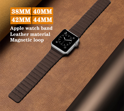 $ CDN9.38 • Buy For Apple Watch Series 6 5 4 3 SE Leather Magnetic Strap Replacement Loop Band