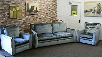 £2299 • Buy Duresta 3 Seater Sofa & 2 Armchairs In A Pale Teal Velvet Fabric