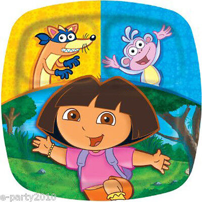DORA THE EXPLORER Party LARGE POCKET PLATES (8) ~ Birthday Supplies Dinner Lunch • 5.73£