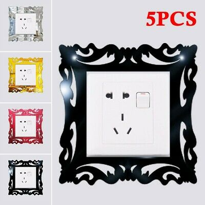 5x Silver Mirror Wall Stickers Light Switch Surround Cover Socket Frame • 6.41£