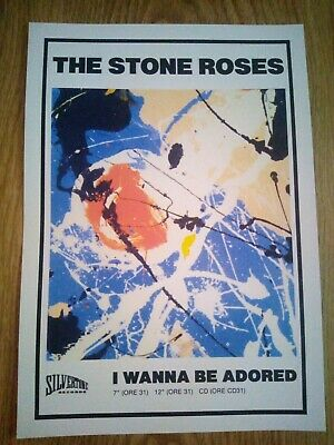 The Stone Roses 'I Wanna Be Adored' Promo Music Poster A4 Repro / Print • 4.99£
