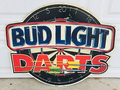 $ CDN123.44 • Buy Vintage Bud Lights Darts Tin Metal Beer Sign Budweiser Bar Advertisement