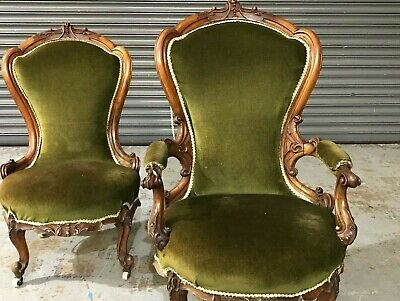 £395 • Buy A Pair Of Victorian 19th Century Carved Walnut Chairs With Cabriole Legs