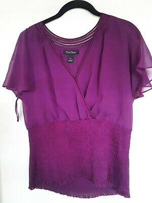 $ CDN25.39 • Buy White House Black Market Women's Top Magenta Cap Sleeve  V-Neck Sz L