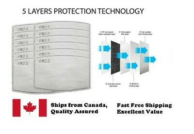 $ CDN5.99 • Buy Filter PM 2.5 Hepa Filter Insert 5 PK| PM25 Face Mask Filter FREE And FAST SHIP