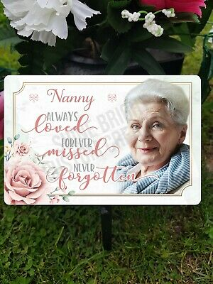 Personalised Nanny Nan Memory Plaque Grave Marker Cremation ADD OWN PHOTO • 12.99£