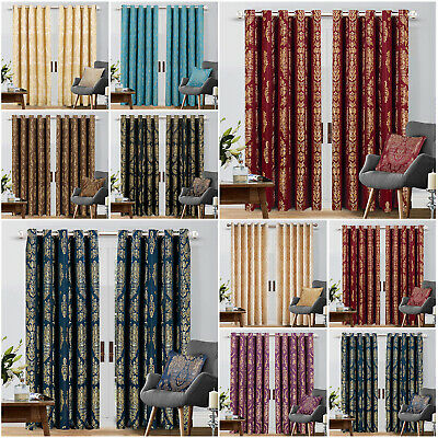 Luxury Jacquard Curtains Ring Top Fully Lined Bedroom Curtain Pair With Tiebacks • 19.99£