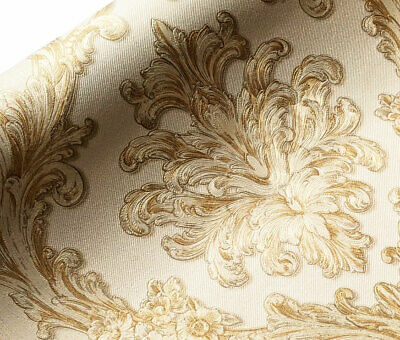 Quality Cream Ivory Gold Damask Brocade Glitter Wallpaper 3d Embossed Textured • 9.98£