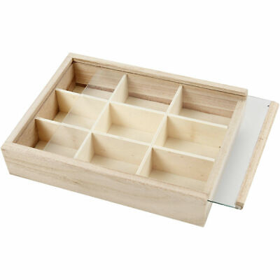 £5.95 • Buy Wooden 9 Section Storage Display Compartment Box With Sliding Glass Cover 57454