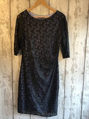 Principles Black Lace Over Purple Lining Side Gather Dress Size 14 BNWOT • 11.99£