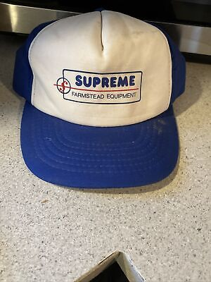 $ CDN36.38 • Buy SUPREME FARMSTEAD EQUIPMENT Vintage Trucker Style Hat Cap Blue White SNAPBACK