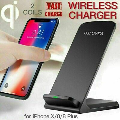 AU14.95 • Buy Wireless Qi Quick Charger Charging Pad Stand Dock For IPhone X 8 Plus Samsung S9