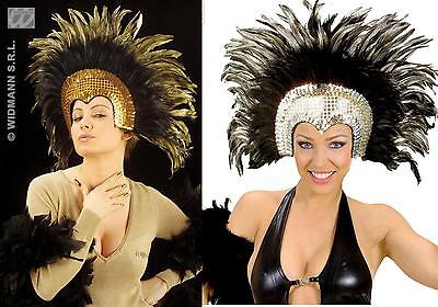 £28.40 • Buy Feather Headdress, Feathers, Travestie, Carnival, Rio Gold Or Silver 6608
