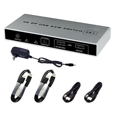 AU71.28 • Buy VGA KVM Switch 4K 60Hz Monitor Computer USB Dual Port Connection Plug And Play