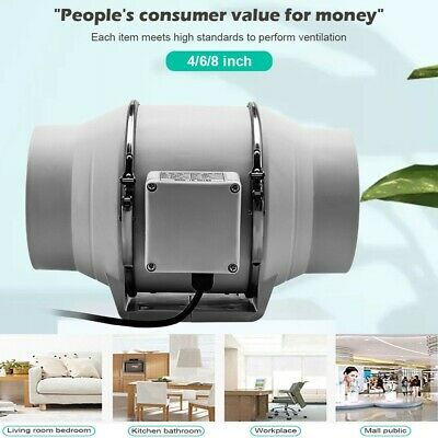 AU33.79 • Buy 4/6/8 Inch Silent Extractor Fan Duct Hydroponic Inline Exhaust Industrial Vent