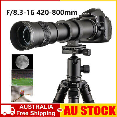 AU97.75 • Buy 420-800mm F/8.3 - 16 Super Telephoto Zoom Camera Lens For Nikon Canon +T Mount