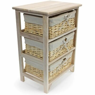 3 Tier Drawers Wooden Storage Cabinet Rack Wicker Baskets Bedroom Unit Furniture • 32.99£
