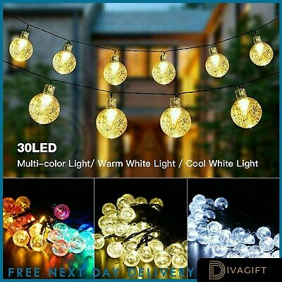 60 LED Retro Bulb String Lights Solar Powered Garden Outdoor Fairy Summer Lamp • 10.95£