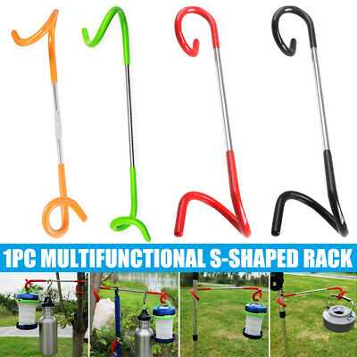 Stainless Steel Camping Hook Lamp Hanging Pole Hanger Outdoor Canopy Accessories • 6£