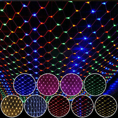 LED String Fairy Net Lights Curtain Mesh Christmas Tree Party Garden Outdoor UK • 12.99£