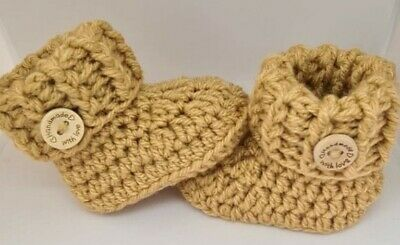 £5.29 • Buy Crochet/knitted Newborn, 0-3, 3-6 Or 6-9 Months Baby Cuffed Booties Oatmeal