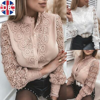 Womens Lace Floral Long Sleeve Shirts Ladies Button Collar Hollow Blouse Tops UK • 6.99£