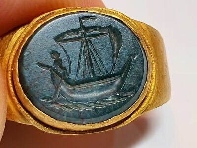 £1850 • Buy Roman Christian Ring With Intaglio -Saint Peter The Fishermen 2nd,4th Century AD