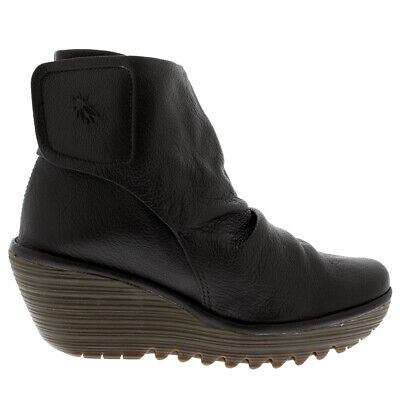 Ladies Fly London Yomi Mousse Winter Mid Heel Biker Ankle Boots All Sizes • 64.99£