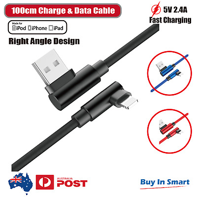 AU5.95 • Buy Fit IPhone IPod IPad 90 Degree Right Angle USB Fast Charger Data Cable 6 X 8 7 5