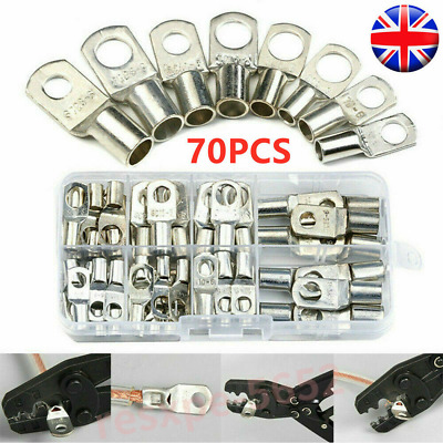 £9.99 • Buy 70 Copper Tube Terminal Set Battery Welding Cable Lug Ring Crimp Connectors Tool