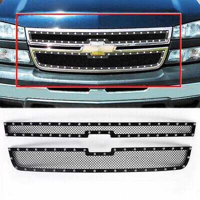 $97.92 • Buy For 2005-2007 Chevy Silverado 1500 2500HD 3500 Black Rivet Mesh Grille Insert